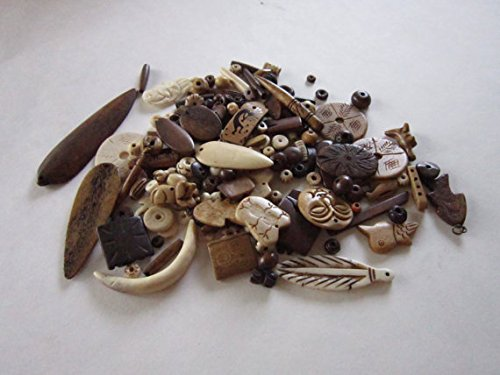 1/2 LB Assortment Buffalo Bone Beads mixed Jewelry Crafts Tribal Grab Bag
