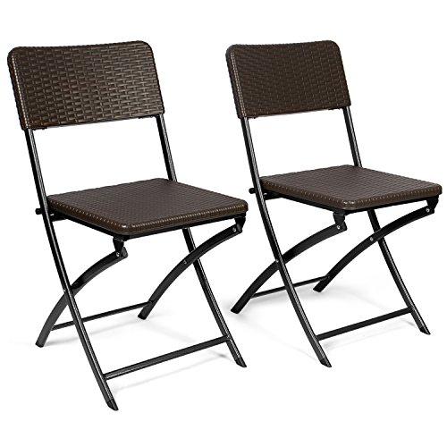 Vanage Gartenstuhl in braun - klappbare Gartenstühle im 2er Set - hochwertige Klappsessel in Rattanoptik - Hochlehner - pflegeleichter Klappstuhl
