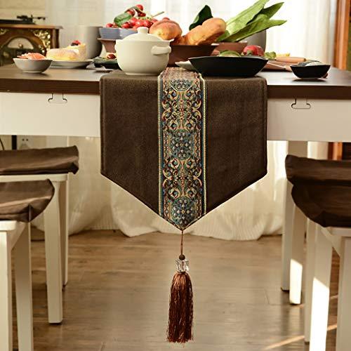 HAIYING Table De Thé Drapeau De Table Simple Moderne Chinois Zen Thé Cérémonie Style Chinois Nouvelle Table De Thé Chinoise Thé Nappe De Coton Lin Art (Couleur : Café, taille : 30 * 120cm)