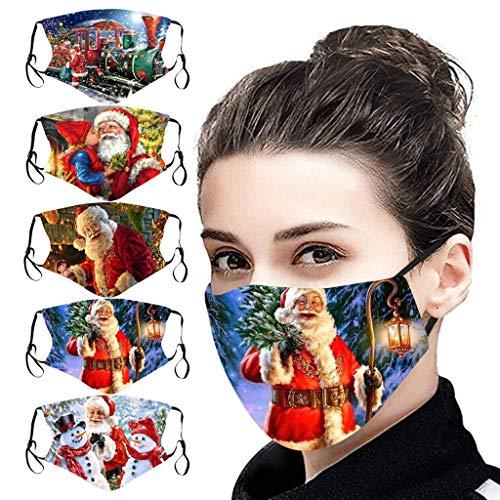 LiLiMeng 5PC Christmas Face Màsc Reusable Washable for Adults, Snowman Santa Claus Decorative Face Msaks for Women Men, Holidays Face Bandanas (A)