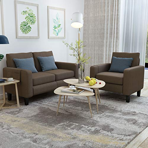 Mecor 2 Piece Living Room Sofa Set Modern Fabric Couch Furniture Upholstered Single Sofa Chair and Loveseat for Living Room, Bedroom, Office, Apartment, Dorm and Small Space