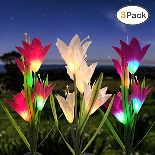 ZOUTOG Solar Garden Lights, 3 Pack Solar Lights Outdoor Garden with 12 Lilies - Multicolor Garden Lights Solar Powered for Garden, Yard, Patio, Wedding Party, Family or Other Holiday Party Decoration