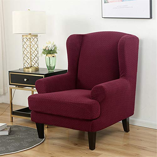 Jacquard Damast Wing Chair Cover Elastic Stretch Weiche Sofa Deckt 2-Teilige Wingback-Sessel-Cover Mit Abnehmbaren Armen-Slipcover Möbelschutz Für Zuhause, Hotel,Wine red