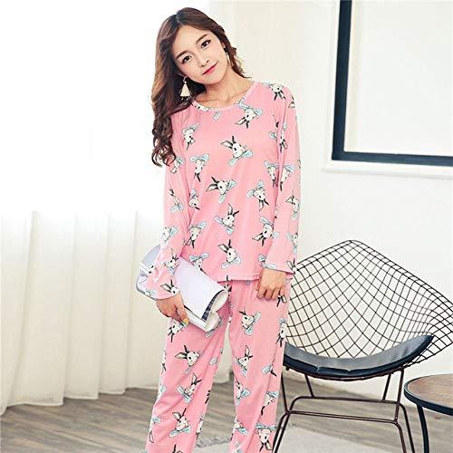 YYXJLG Pijama,Conjunto de Pijamas Mujeres Niñas Algodón Cuello Redondo Conjuntos de Pijamas Taza de té Gato Ropa de Dormir Ropa, Canciones Rosa, M