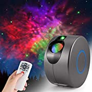 LED Galaxy Night Light Projector, ZOTO 3D Nebula Star Sky Projector, 360° Rotation+7 Colours LED Projection Lamp with Remote Control, Adjustable Speed/Brightness/Direction for Kids Adults Bedroom Game