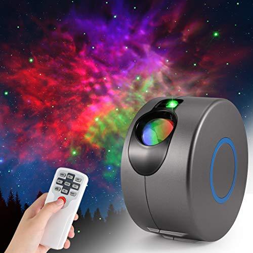Galaxy Sternenhimmel Projektor Lamp, ZOTO 3D Sternenlicht Projektor mit Fernbedienung, 360° Drehung/7 Farben/Aurora-Effekt Nachtlicht für Baby Schlafzimmer Zuhause, Party
