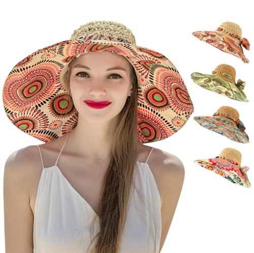 Sombrero de Paja para Mujer, Sombrero de Paja Plegable de ala Ancha, Sombrero de Verano Ajustable con protección UV para Playa al Aire Libre