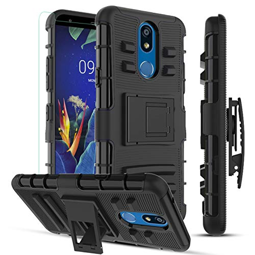 MMDcase LG K40 Case,LG K12 Plus/LG X4 2019/LG Solo LTE Phone Case/Tempered Glass Screen Protector,[Built-in Kickstand & Belt Clip Holster] Dual Layer Heavy Duty Shockproof Protective Cover,PC Black