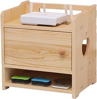 Casiers, étagères et tiroirs Caisses en Bois Organisateur De Câbles Routeur en Bois Massif Boîte De Rangement pour Routeur...