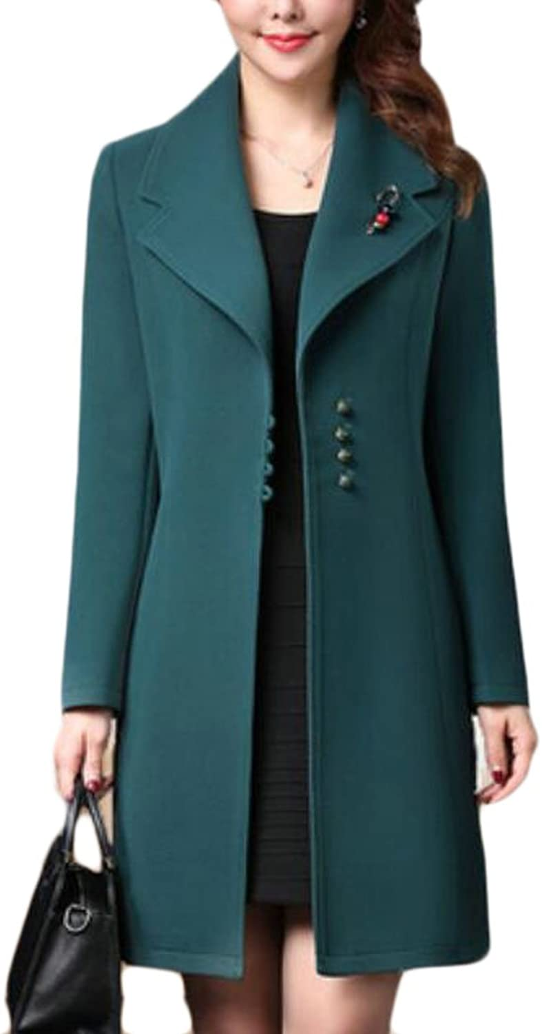 UUYUKWomen Winter Thick Slim Fit Wool Blended Long Trench Coat