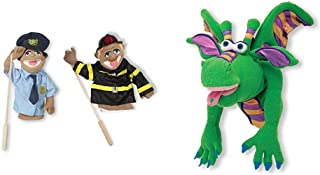 Melissa & Doug Puppet Bundle - Police Officer and Firefighter & Smoulder The Dragon Puppet
