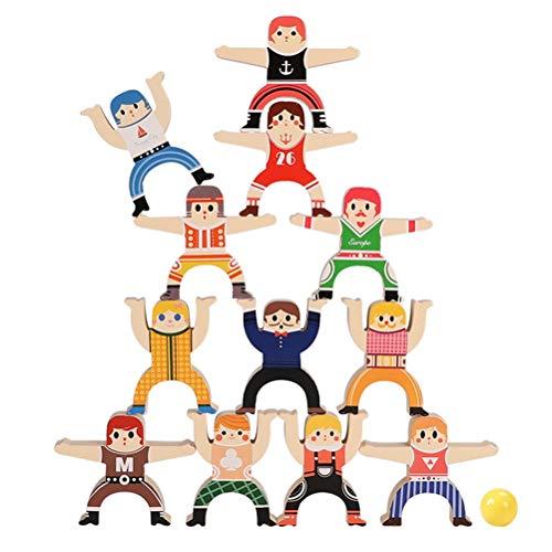 Borstu Stapelmännchen Hölzerner Herkules 12 Stücke Balance Stapeln hoher Bausteine Stapelspielzeug Holzspielzeug für Kinder