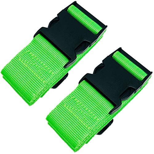 Twin Pack Luggage Straps Adjustable Security Suitcase Travel Belt Non-Slip Packing Belt (Green)