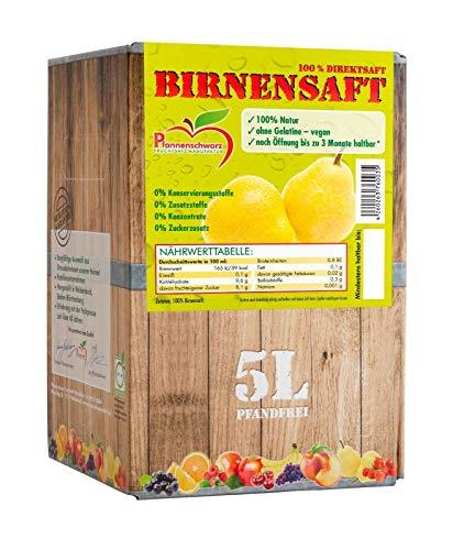 Pfannenschwarz Birnensaft 100% Direktsaft, 2er Pack (2x5 l Bag in Box)
