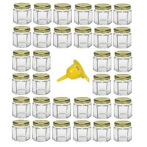 Viva Haushaltswaren - 32 x Mini Einmachglas 47 ml mit goldfarbenem Deckel, sechseckige Glasdosen als Marmeladengläser, Gewürzdosen, Gastgeschenk etc. verwendbar (inkl. Trichter Ø 12,3 cm)