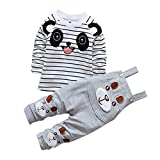 De feuilles Chic-Chic Ensemble Salopette avec Haut Longues Manches Bébé Garçon Fille Panda Rayure Haut T-Shirt Mignon 12-18mois Gris