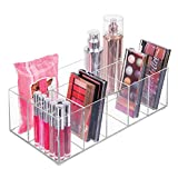 mDesign Organizador de maquillaje – Caja transparente con 6 compartimentos - Ideal para guardar...