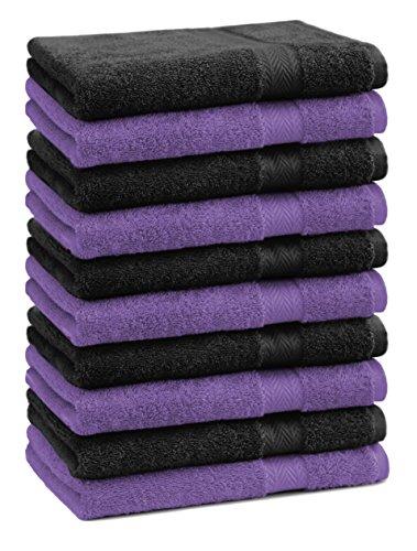 Betz Paquete de 10 Piezas de Toallas para Invitados Juego de Toalla de Lavabo 100% algodón tamaño 30x50 cm Toalla de Mano Premium de Color Morado y Negro
