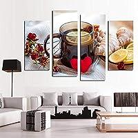 キャンバスリビングルームの写真絵画壁アート4ピース/個フルーツレモンティーHDプリントモダンポスター家の装飾-20x40cmx220x60cmx2フレームなし