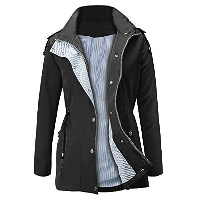 FISOUL Raincoats Waterproof Lightweight Rain Jacket Active Outdoor Hooded Women's Trench Coats Black