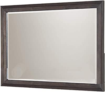 Benjara Molded Wooden Frame Dresser Top Mirror with Beveled Edges, Brown and Silver