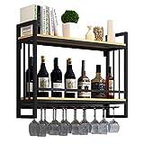 Rack di Vino di Ferro   Supporto per Bicchiere di Vino in Metallo sospeso   Mensola del Vino con Supporto di Vetro   portabottiglie di Vino Parete   Supporto per Appendere Bicchieri da Vino, Nero