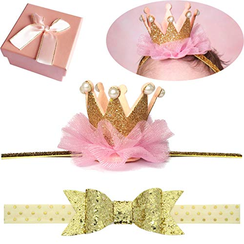 Elesa Miracle Hair Accessories Baby Girl's Gift Box with Shiny Bow Crown Tiara Headband (2pc-Gold), One Size