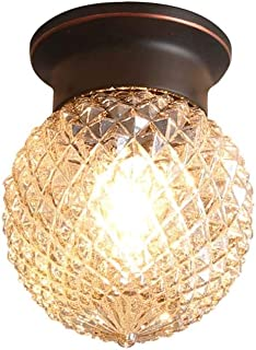 LCTCXD LED Copper Glass Ceiling Lamp, Creative Glass Pineapple Lampshade Pendant Lamp, Nordic Aisle Porch Balcony Lamp Personality Chandelier,E27,110-240V