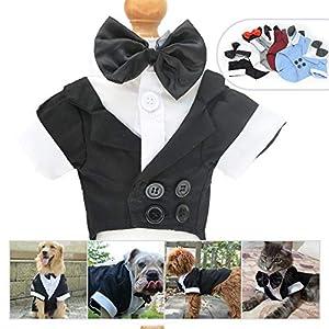 Lovelonglong Pet Costume Dog Suit Formal Tuxedo with Black Bow Tie for Large Dogs Alaska Golden Retriever Black L-XL+