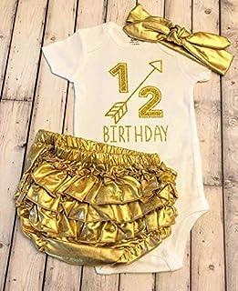 1/2 birthday bodysuit - half birthday - girls bodysuit - 1/2 - Half - 6 months baby - 6 months shirt - gold bow - one half - It's my half birthday - Half way to One