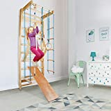 CCLIFE Sprossenwand Turnwand Gym Klettergerüst Holz Sportgerät Kletterwand mit Stange Fitness Kinder Erwachsener