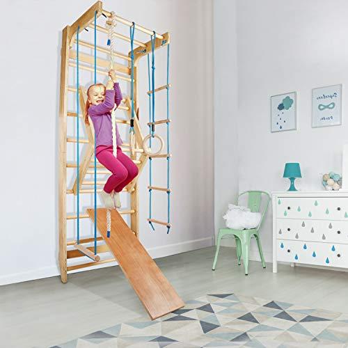 CCLIFE Sprossenwand Turnwand Gym Klettergerüst Holz Sportgerät Kletterwand mit Stange Fitness Kinder Erwachsener, Farbe:Sprossenwand 004 -Holzoptik