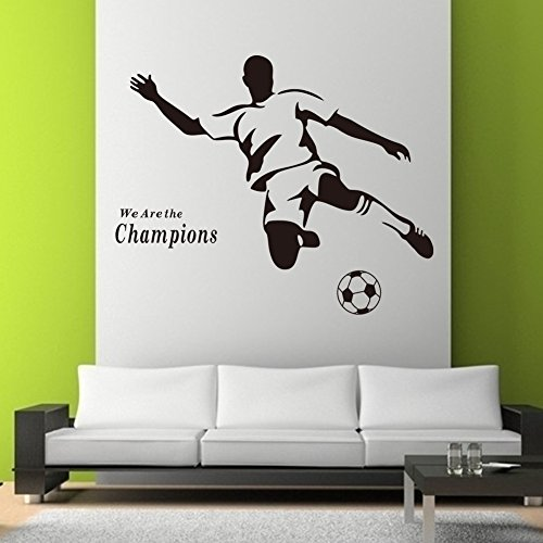 Rainbow Fox PVC amovible de football de football nous sommes les champions mur papier peint autocollant autocollant pour la chambre d'enfant pépinière (Black)