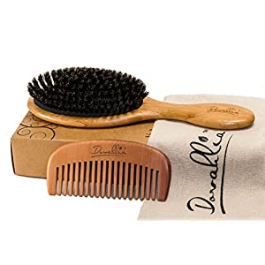 Beauty Shopping Boar Bristle Hair Brush Set for Women and Men – Designed for Thin and Normal Hair – Adds Shine and Improves Hair Texture…