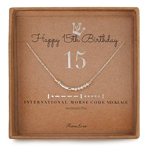 RareLove 15th Birthday Jewelry Gifts for Girls 15 Morse Code Necklace 925...