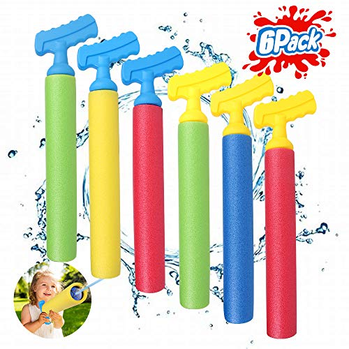 TNELTUEB Water Guns Toys for Kids, 6 Pack Super Water Shooter Blaster Gun, Set Up to 30 FT, Squirt...