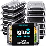 Igluu Meal Prep Containers [10 pack] 1 Compartment with Airtight Lids - Plastic Food Storage Bento...