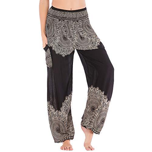 Nuofengkudu Mujer Algodón Thai Pantalones Hippies Cintura Alta con Bolsillo Boho Estampados Baggy Comodo Harem Pantalón Indios Yoga Pants Verano Playa(Negro Flor,Talla única)