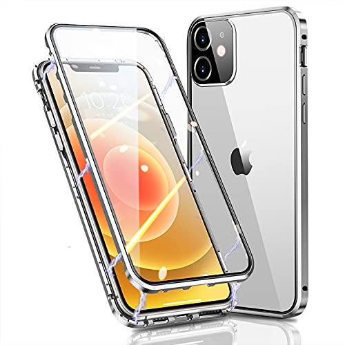 Funda iPhone 12 Apple 5G Magnética Case,Protector 360 Grados Parachoques Metal con Protector Cámara,Doble Cara Vidrio Templado Transparente Carcasa para iPhone 12,Plata