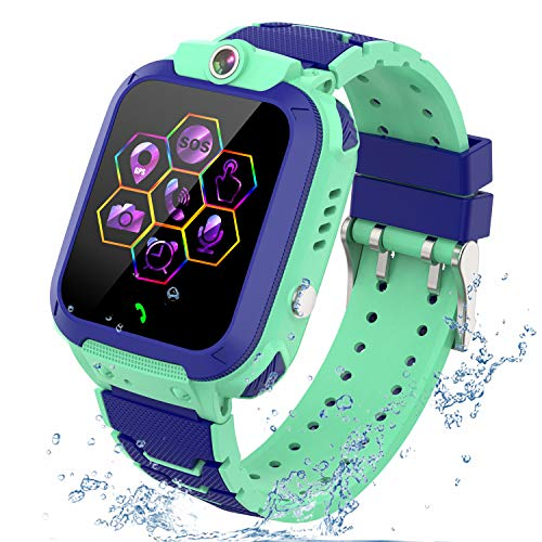 """Kids Smartwatch GPS Tracker Phone - 2020 New Waterproof Children Smart Watches with 1.4"""" Touch Screen SOS Phone Call Talkie Walkie Pedometer Fitness Sports Band for Boys Girls Age 4-12 (Blue)"""