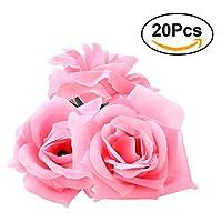 ROSENICE 20 pcs 人工ローズ花 結婚式パーティーの装飾 (ピンク)