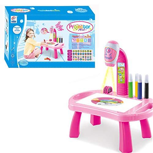FINIMY Kinderschreibtisch mit intelligentem Projektor,LED-Projektionskunst Malmaschine Zeichentisch Lernspielzeug F.