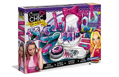 Clementoni 15241 Crazy Chic – Star-Frisuren, funkelnder Schönheitssalon für die Haare, trendiges Beauty-Set, bunter Haarschmuck & Friseurbedarf für Kinder ab 6 Jahren