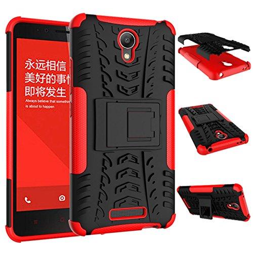 Ycloud Custodia Cover per Xiaomi Redmi Note2 Guscio Protettivo di Armatura, Hard PC+ TPU Flessibile Custodia Facile da smontare Custodia per Xiaomi Redmi Note2 - Rosso