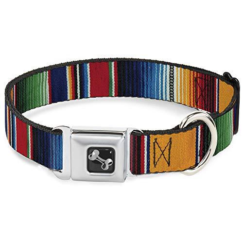 Buckle Down 9–15'zarape2Vertical Multi Color Rayas Collar de Perro Hueso, pequeño