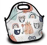 Mochila infantil de neopreno con divertidos diseños de gatos, con correa ajustable para el hombro para niños y niñas