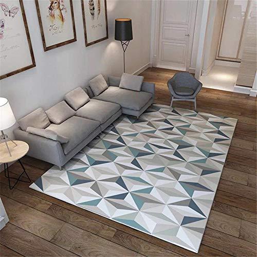 Kunsen Alfombras Pie De Cama Alfombra geométrica Tridimensional Irregular Alfombra de Dormitorio Suave Antideslizante Alfombras para Gatos Alfombra Dormitorio Infantil Azul El 120X160CM
