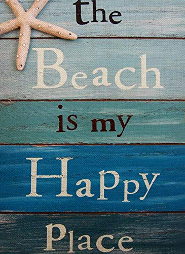 Dyrenson Decorative Quote The Beach is My Happy Place Outdoor Garden Flag Double Sided, Tropical Ocean House Yard Flag, Rustic Coastal Garden Yard Decorations, Home Seasonal Outdoor Flag 12.5 x 18