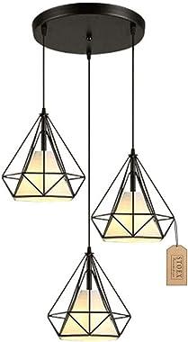Hanging Cage Shape Diamond Contemporary 25cm Adjustable Rope Lighting Iron Chandelier Dining Room, Bar, Bedroom