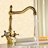 Pumpink Retro 180 Degree Swivel Antique Inspired Brass Mixer Sink <span class='highlight'>Kitchen</span> <span class='highlight'>Taps</span> <span class='highlight'>With</span> Two Handle, Luxury <span class='highlight'>Gold</span> Finish Basin Bathroom <span class='highlight'>Taps</span>